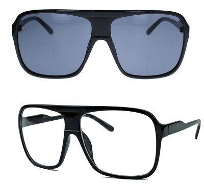 Herren Old School Sonnenbrille Modebrille Klarglas Flat Top Brille 80er Jahre