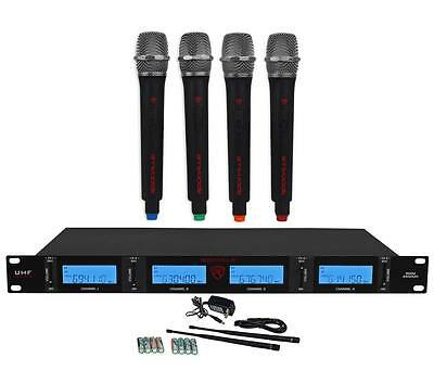 Rockville RWM4400UH QUAD UHF 4 Wireless HandHeld Microphone System w/LCD Display
