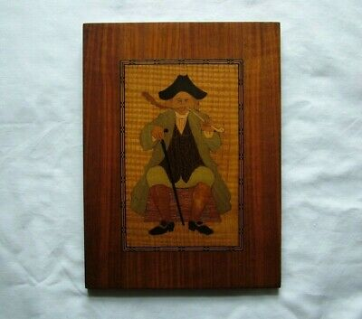 Vintage Hand Carved Wood Inlaid Picture Traditional Man Seated Smoking A Pipe