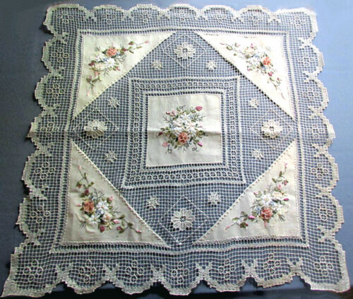 """Vintage 35"""" STRING LACE TABLE COVER with LINEN PANELS Embroidered Silk Ribbons"""