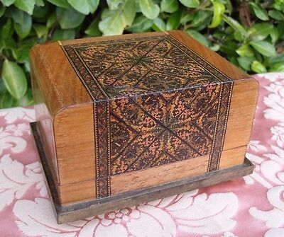 Antique Vintage Inlaid Wooden Wood Treen Musical Box
