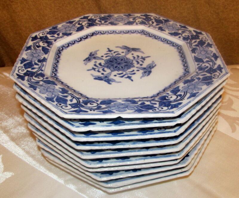 10 Antique Japanese Blue & White Porcelain Dishes Probably Arita Signed