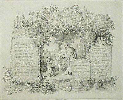 HEINRICH MERZ - Der 130. Psalm - Nach Gustav König - Radierung 1835