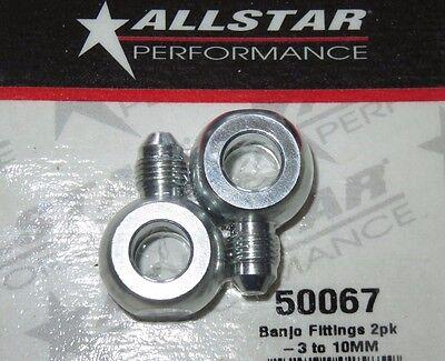 AllStar Banjo Fitting Adapter 10mm to  3 An Steel Brake Hose Line Turbo 2 pk