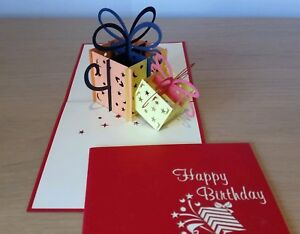 Colourful 3D Pop Up Magic Box Presents Card For Birthday