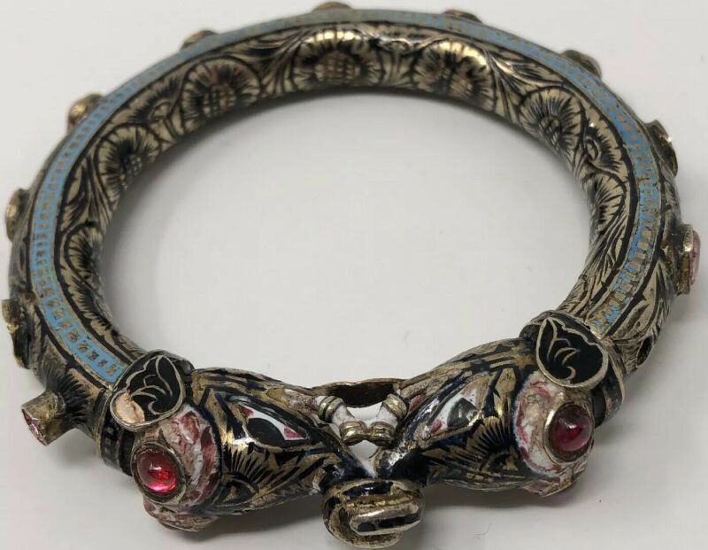 ASIAN Antique Old Chinese Export Silver Enamel Elephant Jeweled Bangle Bracelet