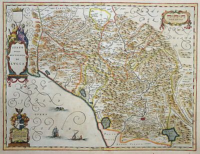 ITALIEN STATO DELLA REPUBLICA DI LUCCA TOSKANA ALLARDO CLOECQ WAPPEN BLAEU 1640