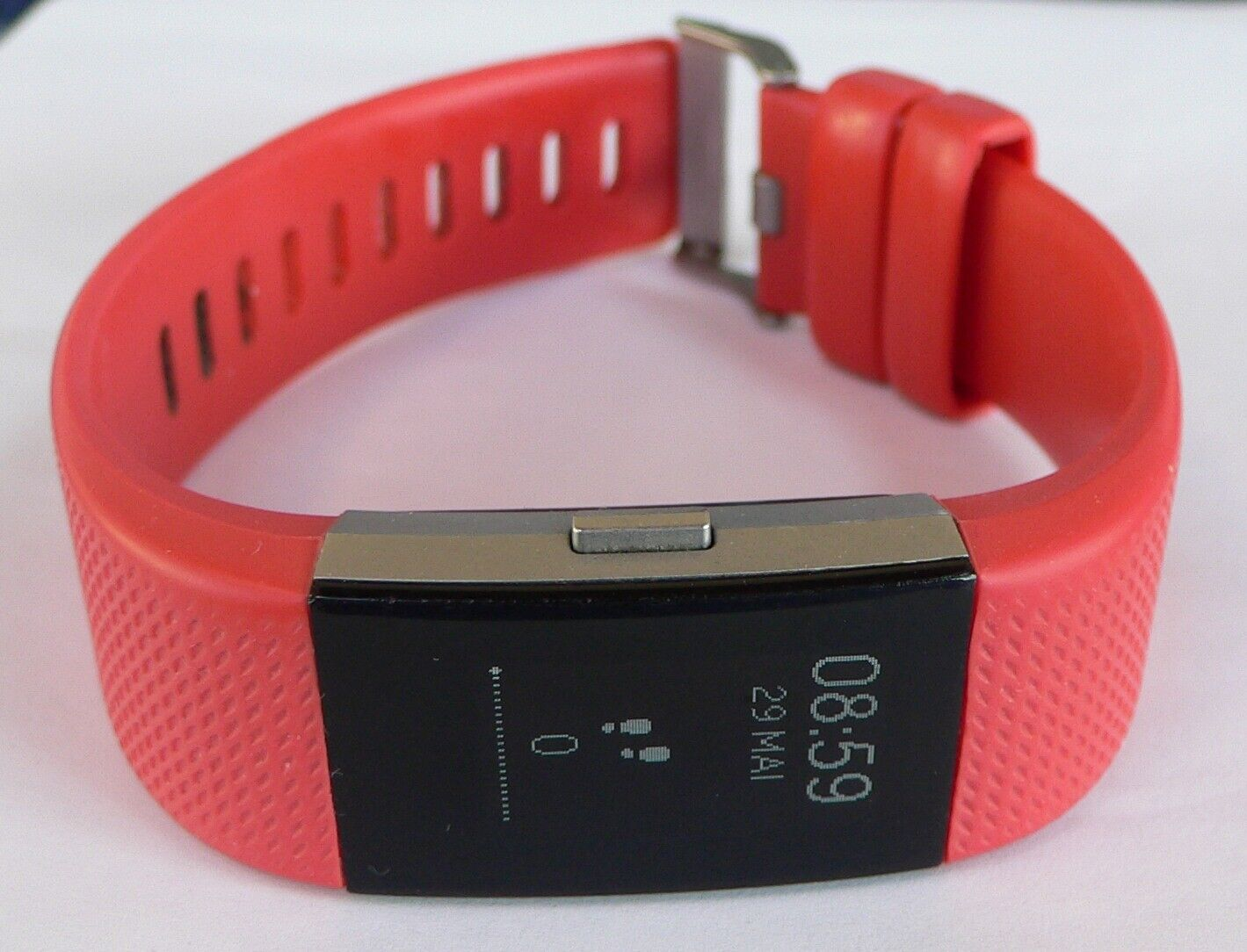 Fitbit Charge 2 Aktivitätstracker - rotes Band, wenig benutzt, funktionsfähig!