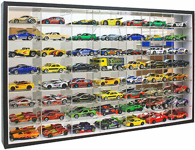 56 Hot Wheels 1:64 Scale Diecast Display Case Stand, No Door, Mirrored Back