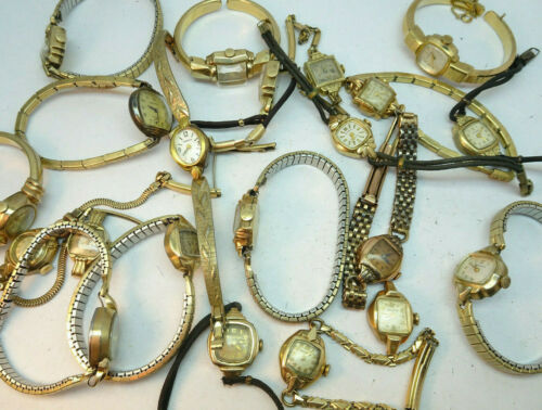 VINTAGE LOT OF MOSTLY BULOVA AND CARAVELLE LADIES WATCHES RUNNING TO RESTORE