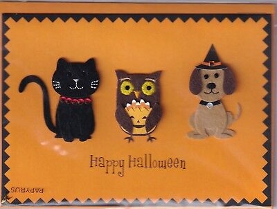 PAPYRUS Halloween card NIP MSRP $6.95 Cat, Dog, Owl - Halloween Card Animated