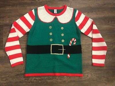 Elf Suit Ugly Christmas Sweater Candy Cane Sleeves Holiday Time Womens Sz M 8-10 - Ugly Sweater Suit