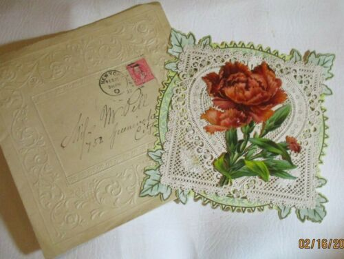 Antique Victorian Valentine Layered  Lace Greeting Card & Envelope Flower Poem