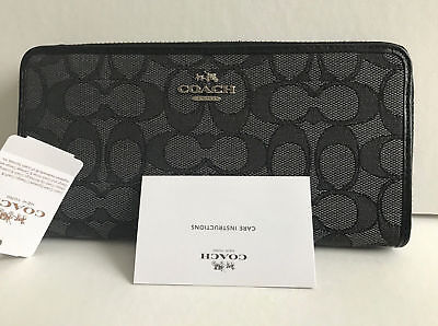 New Coach F54633 Accordion Zip Wallet Outline Signature canvas Black smoke NWT