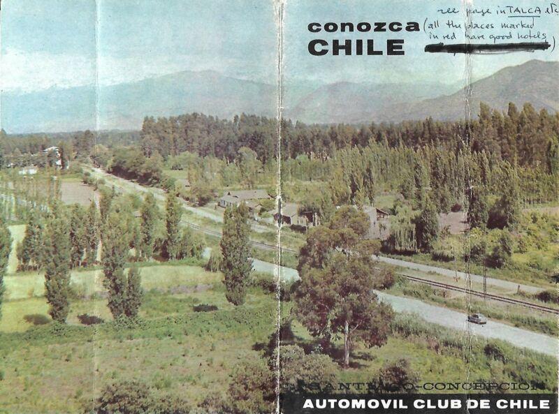 1966 Auto Club Road Map Booklet CHILE Concepción Santiago Talca Linares Rancagua