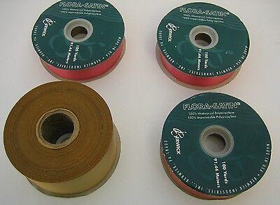 Lot of 4 Rolls Berwick Flora-Satin 100% Waterproof Polypropylene Ribbon Red Gold