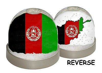 SNOW DOME - AFGHANISTAN MAP - Flag Glitter Globe Photo Xmas (can be customised)