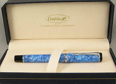 Conklin Duragraph Ice Blue & Chrome Fountain Pen - Medium Nib - NEW!