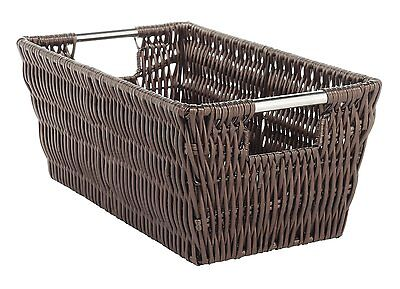 Woven Plastic Basket Container Home Tote Shelf Organizer Storage Laundry Clothes