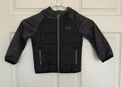 Under Armour Coldgear Toddler 2T Jacket Hoodie Black And Gray