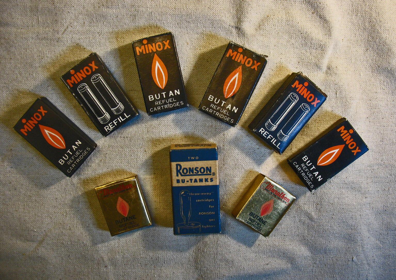 9 Vint. Pkg. Minox Marathon Ronson Disposable Butane Gas Fuel Cartridges AS IS
