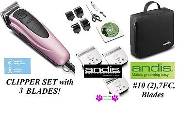 Andis PET DOG CAT Home Grooming Clipper Kit-3 Blades,4 Guide Comb