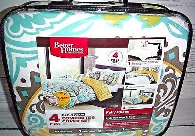 New Better Homes & Gardens Full/Queen Aqua Suzani Duvet Cover Comforter