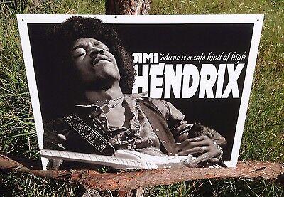 JIMI HENDRIX Music High Sign Tin Vintage Garage Bar Decor Old Rustic
