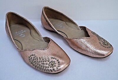 NEW CALLEEN CORDERO rose gold crackled leather studded ballet flats size 6.5
