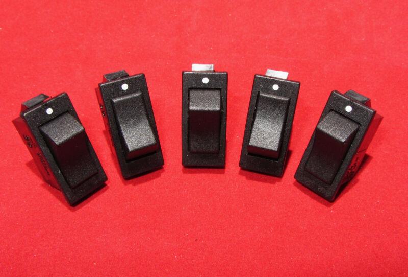 5 pcs, Swann 39 Black Rocker Switch, SPST 15A 125VAC 1/2HP - Snap In, T85 250VAC