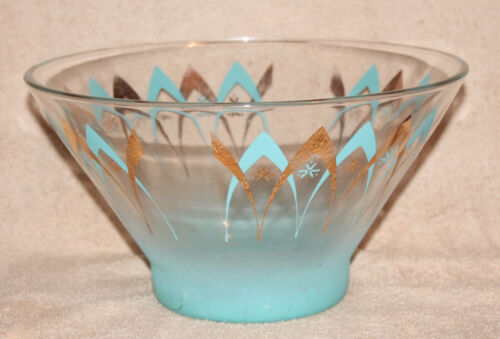 MCM Anchor Hocking Atomic Happy Hour Boomerang Chip Bowl Turquoise Gold Star