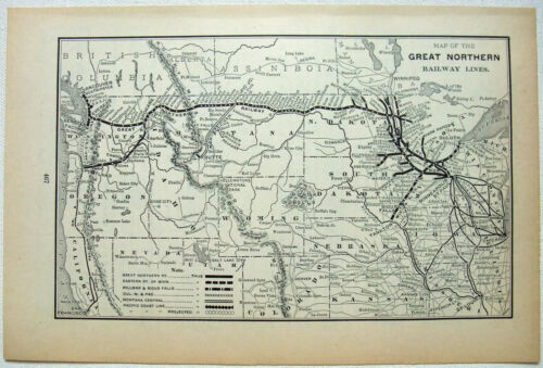 Great Northern Railway - Original 1895 System Map. Railroad