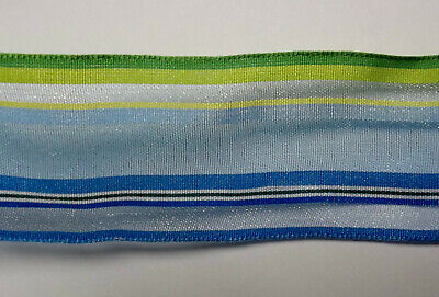 Offray Ribbon Blue, Yellow and Green Stripes 1-1/2 Inches x 9 Feet  Poly Blend  - Blue And Yellow Ribbon