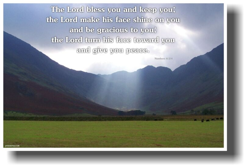 NEW Bible POSTER - The Lord Bless You and Keep You - Numbers 6:24