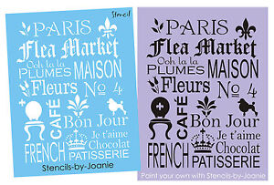 Paris French STENCIL Flea Market Fleur Shabby Fleur Ooh Maison CAFE Subway Sign