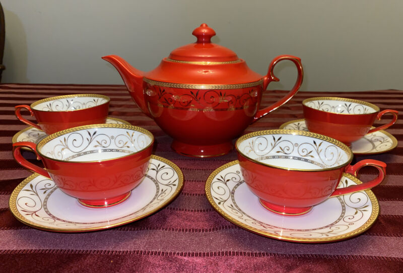 🔥 TEAVANA EXCLUSIVE HAND FINISHED BONE CHINA TEA SET POT CUPS SAUCERS RED GOLD