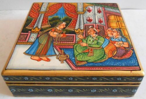 Box Jewelry Maharajah Procession Painting Wood Work Artistic Collection Of Art