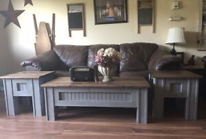 Solid wood coffee and end table set