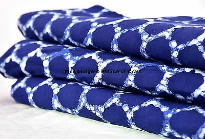 Indian 5 Yard Handmade Cotton Indigo Blue Polka Dot Quiling Craft Making Fabric