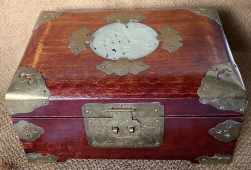 """Vintage Wood & Brass Asian Jewelry Box w/ Carved Stone Medallion - 9"""" Long"""