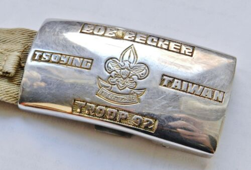 RARE c.1950 Tsoying Taiwan BOY SCOUTS Engraved Buckle & Belt Troop 92 CHINA