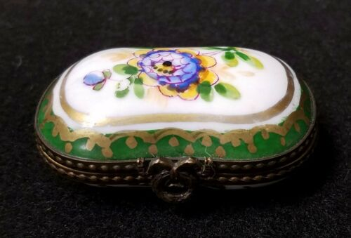 Antique Porcelain Bronze Mounted Trinket Box Hand Painted