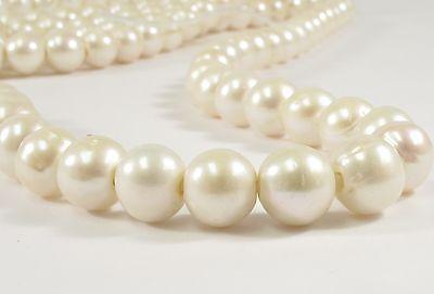 11-12 mm AA Large Hole Potato/Semi Round Natural White Freshwater Pearls (#41)