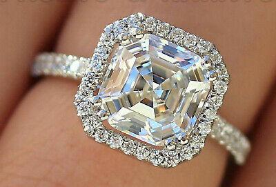 2.61 ct Asscher cut Diamond Engagement Ring Anniversary Solid 14k White -
