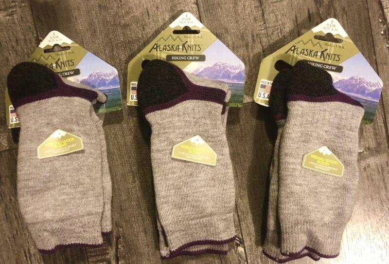 3 Pair Lot Of Alaska Knits Hiking Crew Merino Wool Blend Size 4-10 Made In USA