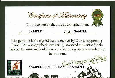 Our Disappearing Planet Certificate of Authenticity (COA)