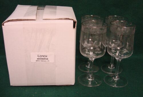 Lenox MOONSPUN Wine Glasses SET OF FOUR More Items Available MINT IN BOX