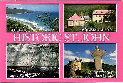 Caribbean Postcard Historic St. John Reef Bay Petroglyphs Moravian Church Island