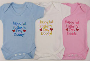 Happy 1st Fathers Day Baby Vest Grow Blue Pink White Boy