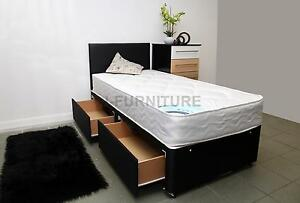 2ft6 Small Single Divan Bed With Storage 22cm Deep